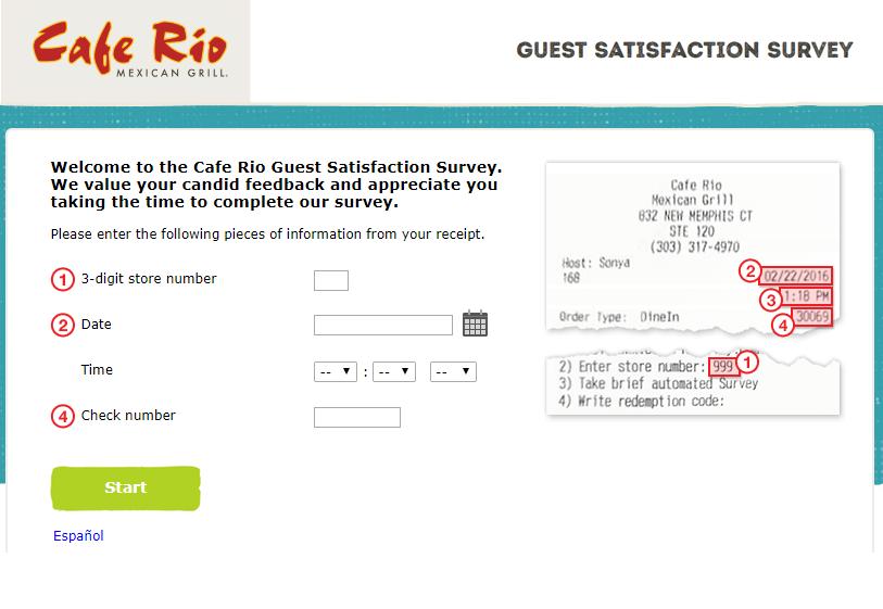 Cafe Rio Guest Satisfaction Survey
