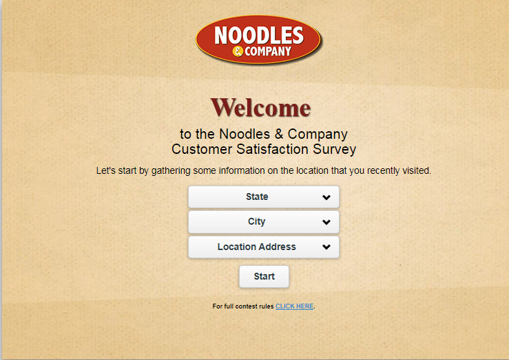 Noodles and company Survey page