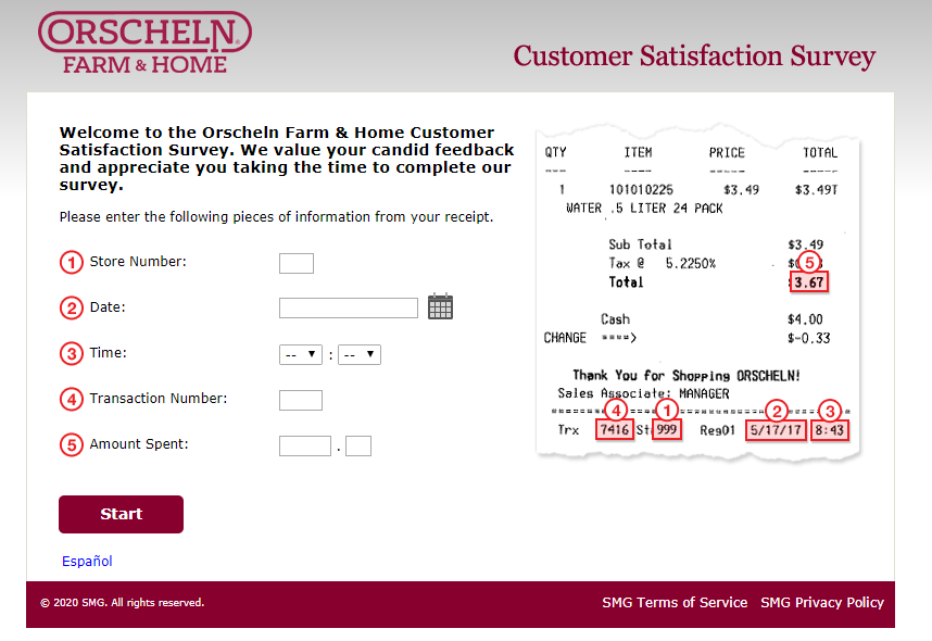 Orscheln Farm and Home Customer Satisfaction Survey Image