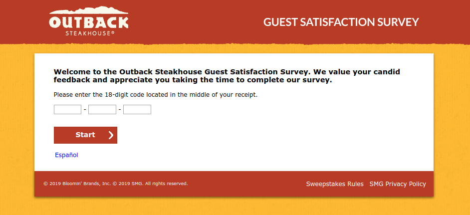 TellOutback Steakhouse Survey