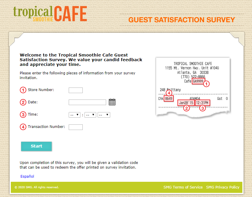 Tropical Smoothie Cafe Guest Satisfaction Survey