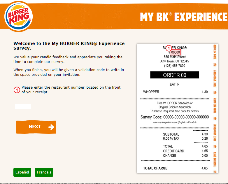 mybkexperience survey for burger king image