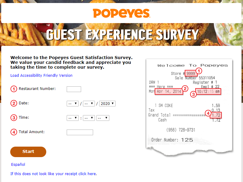 popeyes guest satisfaction survey image